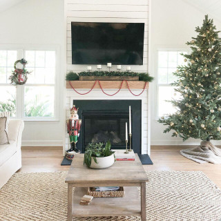 Fraser Hill Farm 42-inch 5-Candle Holder Centerpiece with Boxwood Greenery and Red Berries in Wooden Box