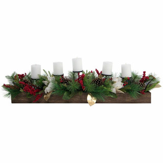 Fraser Hill Farm 42-inch 5-Candle Holder Centerpiece with Pine, Red Berries and Gold Leaf Accents in Wooden Box