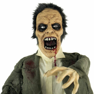 Haunted Hill Farm Life-Size Poseable Animatronic Zombie with Light-up Colorful Eyes