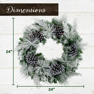 Fraser Hill Farm 24-in Wreath and 6-ft Garland Set with Snow Flocking and Pinecones