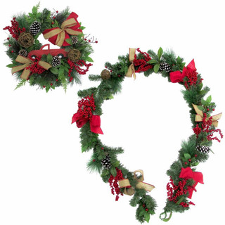 Fraser Hill Farm 24-in Wreath and 9-ft Garland Set with Pinecones, Bows, and Berries
