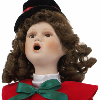 Fraser Hill Farm 19-In Victorian Girl Christmas Caroler Figurine with Auburn Curls, Music, and Motion
