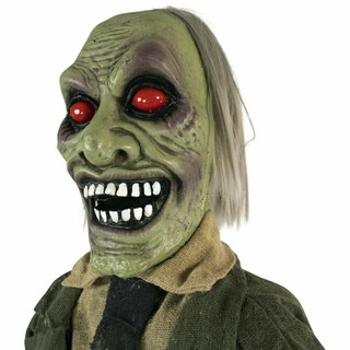 Haunted Hill Farm Life-Size Poseable Animatronic Zombie with Red Flashing Eyes