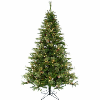 Christmas Time 6.5-Ft Berkshire Pine Green Prelit Christmas Tree with Pinecones, Various Lighting and Size Options