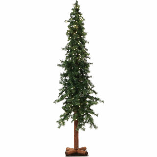Fraser Hill Farm 7-Ft Country Pine Green Natural Wonderland Look Christmas Tree with Metal Base and Clear Smart String Lighting