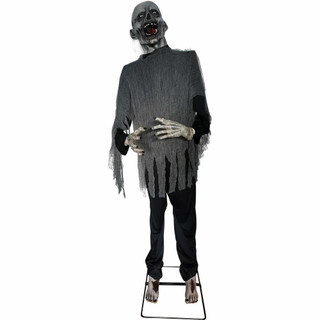 Haunted Hill Farm Premium Life-Size Animatronic Zombie with Poseable Arms and Lurches Side to Side