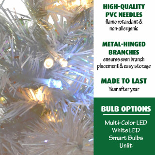 Fraser Hill Farm 7.5-Ft Icy Fir White Christmas Tree with Clear LED Twinkle String Lighting