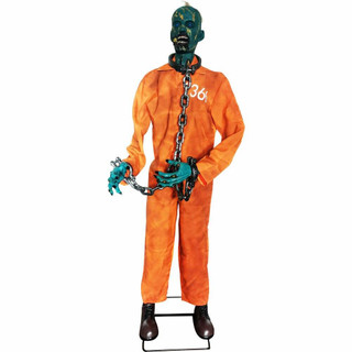 Haunted Hill Farm Premium Life-Size Poseable Animatronic Zombie with Laughing Sounds