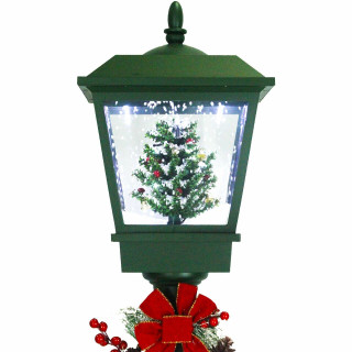 Fraser Hill Farm Let It Snow Series 71-In Square Street Lamp with Christmas Tree, Animated Musical Snow Decoration, Green