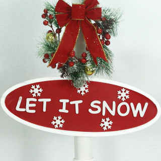 Fraser Hill Farm Let It Snow Series 71-In Square Street Lamp with Christmas Tree, Animated Musical Snow Decoration, White