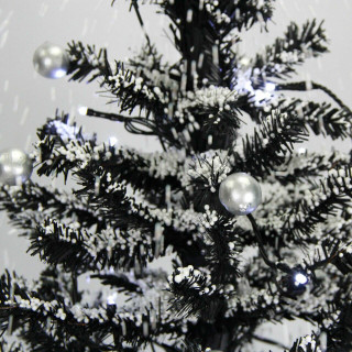 Fraser Hill Farm Let It Snow Series 29-In Black Tree with Star Topper and Black Umbrella Base, Animated Musical Snow
