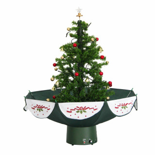 Fraser Hill Farm Let It Snow Series 29-In Green Tree with Star Topper and Green Umbrella Base, Animated Musical Snow