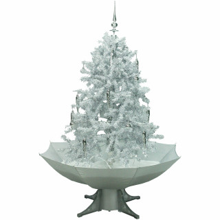 Fraser Hill Farm Let It Snow Series 47-In White Tree with Finial Topper and White Umbrella Base, Animated Musical Snow