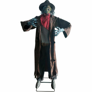 Haunted Hill Farm Premium Life-Size Animatronic Cowboy Zombie with Red Eyes, Moves Side to Side and Talks