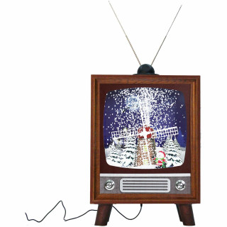 Fraser Hill Farm Let It Snow Series 21-In Retro TV Shadowbox with Windmill Scene, Animated Musical Christmas Decoration