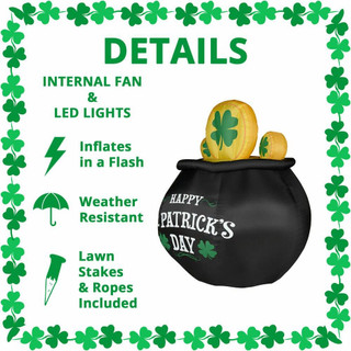 Fraser Hill Farm 6-Ft Tall Happy St Patricks Day Pot of Gold, Blow Up Inflatable with Lights and Storage Bag