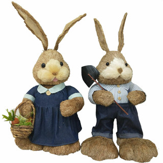 Fraser Hill Farm 34-In Sisal Mr and Mrs Bunny Pair, Cute Easter Rabbit Figurine, Spring Decoration