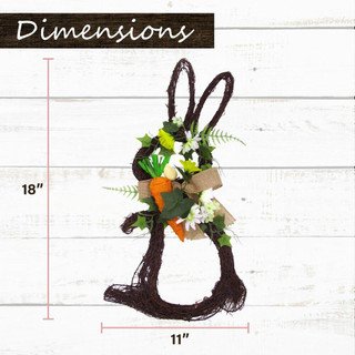 Fraser Hill Farm 18-inch Twig Bunny Wreath Door Hanging with Tulips and Carrot