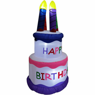 Fraser Hill Farm 5-Ft Tall Happy Birthday 2-Tier Cake with 4 Faux Candles, Blow Up Inflatable with Lights, White/Multi