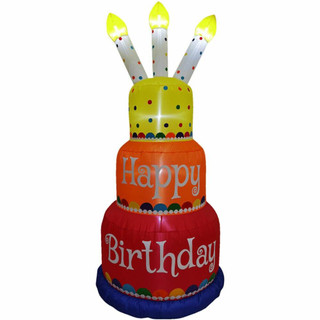 Fraser Hill Farm 6-Ft Tall Happy Birthday 3-Tier Cake with 3 Faux Candles, Blow Up Inflatable with Lights, Multi/Polka Dots