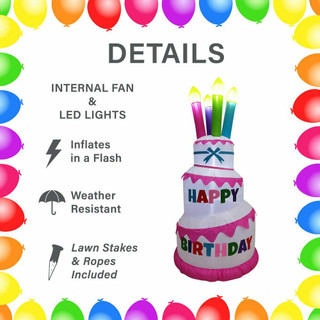 Fraser Hill Farm 6-Ft Tall Happy Birthday Cake with 4 Faux Candles, Blow Up Inflatable with Lights, White/Pink