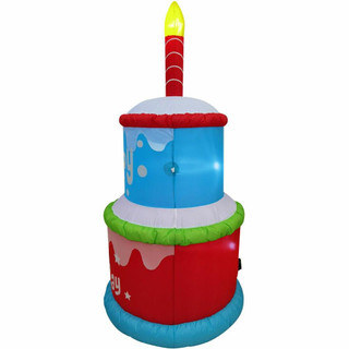 Fraser Hill Farm 6-Ft Tall Happy Birthday 2-Tier Cake with 1 Faux Candle, Blow Up Inflatable with Lights, Red/White/Blue
