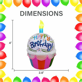 Fraser Hill Farm 4-Ft Tall Happy Birthday Cupcake with 1 Faux Candle, Blow Up Inflatable with Lights, Multi