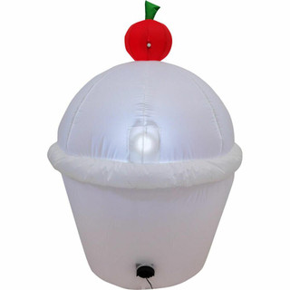 Fraser Hill Farm 4-Ft Tall Happy Birthday Cupcake with Cherry on Top, Blow Up Inflatable with Lights, White/Stripes/Dots
