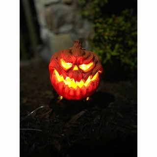 Haunted Hill Farm Pumpkin Heads Light-Up Lawn Decor with Hanging Option