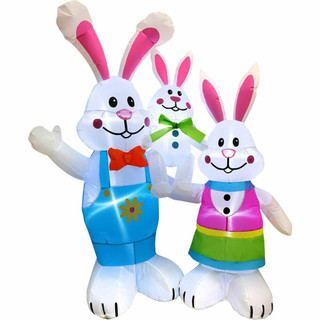 Fraser Hill Farm 4-Ft Tall Bunny Rabbit Family, Outdoor/Indoor Blow Up Spring Inflatable with Lights