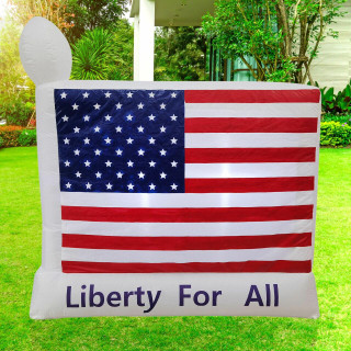 Fraser Hill Farm 6-Ft Wide American Flag - Liberty for All, Outdoor Blow Up Inflatable with Lights