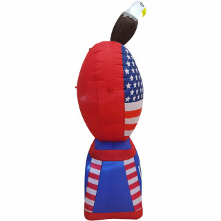 Fraser Hill Farm 8-Ft Tall Americana Heart with Bald Eagle, Outdoor Blow Up Inflatable with Lights