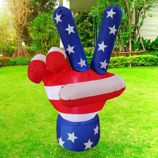 Fraser Hill Farm 4-Ft Tall Americana Peace Sign, Outdoor Blow Up Inflatable with Lights