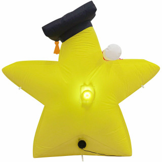 Fraser Hill Farm 4-Ft Tall Congrats Grad Star, Outdoor / Indoor Blow Up Inflatable with Lights