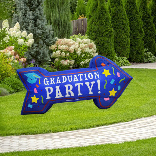 Fraser Hill Farm 8-Ft Wide Graduation Party Arrow, Outdoor Blow Up Inflatable with Lights