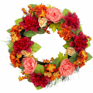 Fraser Hill Farm 24-inch Spring Wreath Door Hanging with Dahlias and Peonies