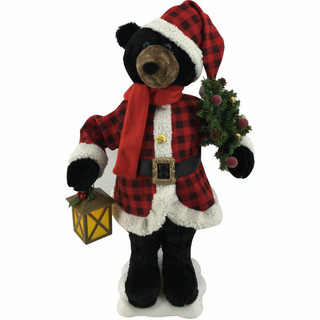 Fraser Hill Farm 24-In Black Bear Figurine with Lighted Lantern, Pine Tree, Animation, and Music 8 Songs - Christmas Holiday Decoration