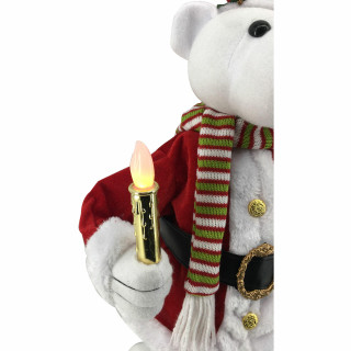 Fraser Hill Farm 24-In Polar Bear Figurine with Lighted Candle, Wreath, Animation, and Music 8 Songs - Christmas Holiday Decoration