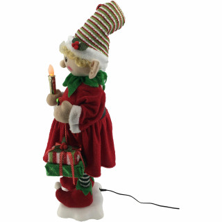 Fraser Hill Farm 24-In Mrs Elf Figurine with Lighted Candle, Gifts, Animation, and Music 8 Songs - Christmas Holiday Decoration