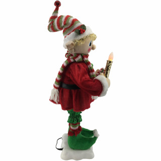 Fraser Hill Farm 24-In Mr Elf Figurine with Lighted Candle, Candy Cane, Animation and Music 8 Songs - Christmas Holiday Decoration
