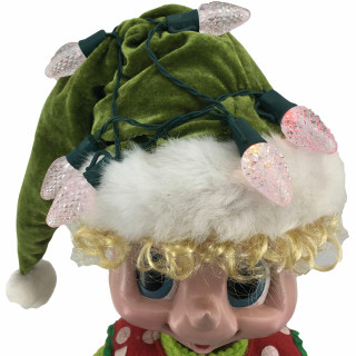 Fraser Hill Farm 28-In Elf Figurine with Hammer, Block, Lights, Animation, and Music 8 Songs - Christmas Holiday Decoration