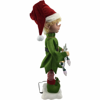 Fraser Hill Farm 28-In Elf Figurine with Star, Horn, Lights, Animation, and Music 8 Songs - Christmas Holiday Decoration