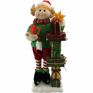 Fraser Hill Farm 30-In Elf with Lighted Star, Gift Stack, Animation, and Music 8 Songs - Christmas Holiday Decoration