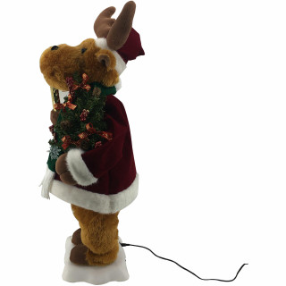 Fraser Hill Farm 24-In Reindeer Figurine with Lighted Candle, Pine Tree, Animation, and Music 8 Songs - Christmas Holiday Decoration