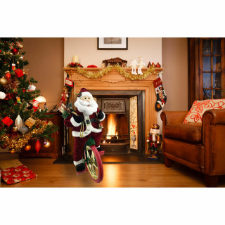 Fraser Hill Farm 36-In Battery-Operated Bike-Riding Santa Claus with Toy Sack, Animation, and Music 1 Song - Christmas Holiday Decoration