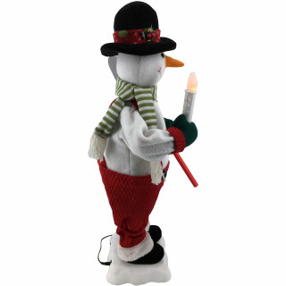 Fraser Hill Farm 24-In Snowman Figurine with Lighted Candle, Shovel, Animation, and Music 8 Songs - Christmas Holiday Decoration