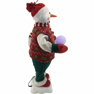 Fraser Hill Farm 24-In Snowman Figurine with Lighted Snowball, Toy Sled, Animation, and Music 8 Songs - Christmas Holiday Decoration