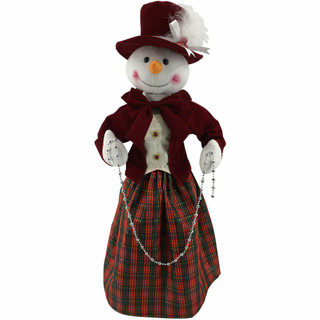 Fraser Hill Farm 24-In Victorian Snowwoman with Beads, Animation, and Music 8 Songs - Christmas Holiday Decoration