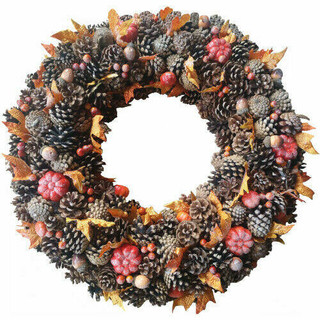24-In Fall Harvest Pine Cone Wreath with Pumpkins for Door, Wall, or Covered Entrance