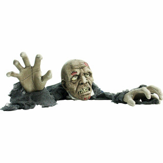 62 In Animatronic Zombie, Indoor/Outdoor Halloween Decoration, Flashing Red Eyes, Poseable, Battery-Operated